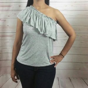 Rebecca Taylor Gray One Shoulder Ruffled Top
